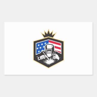 Pegatina Rectangular Escudo de la bandera de los E.E.U.U. de la