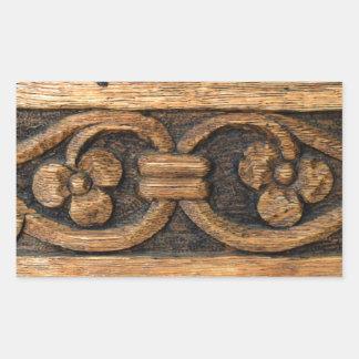 Pegatina Rectangular escultura de madera del panel