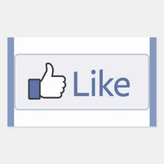 Pegatina Rectangular Facebook tiene gusto de los pegatinas