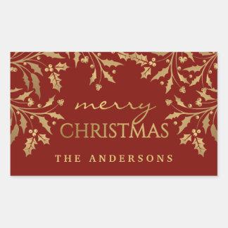 Pegatina Rectangular Falsas ramas del acebo de las Felices Navidad de