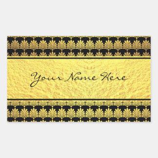 Pegatina Rectangular Falso art déco de lujo del oro con nombre