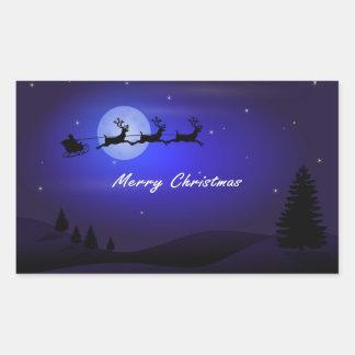 Pegatina Rectangular Felices Navidad de la luna del trineo de Santa