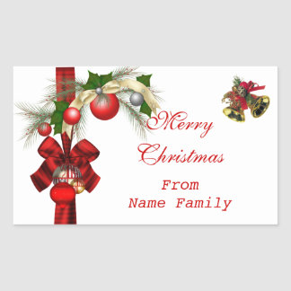 Pegatina Rectangular Fiesta rojo de Navidad del oro blanco de las bolas