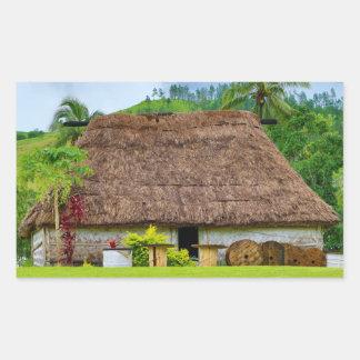 Pegatina Rectangular Fijian tradicional Bure, pueblo de Navala, Fiji