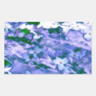 Pegatina Rectangular Flor blanco del Dogwood en azul