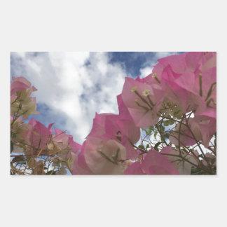 Pegatina Rectangular flores rosadas contra un cielo azul