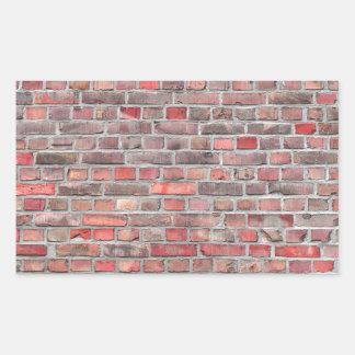 Pegatina Rectangular fondo de la pared de ladrillo - piedra roja del