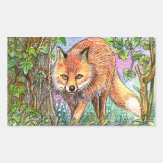 Pegatina Rectangular Fox que camina en las maderas