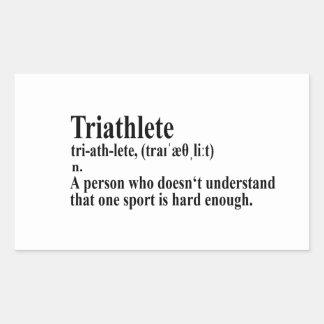 Pegatina Rectangular Funny triatlón definición - bordadores