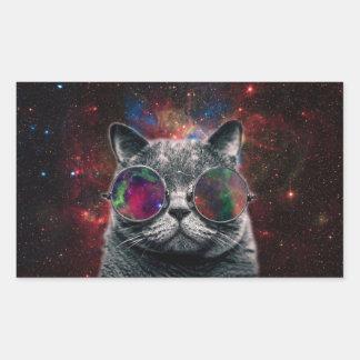 Pegatina Rectangular Gafas que llevan del gato del espacio delante de