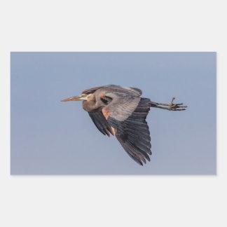 Pegatina Rectangular Garza de gran azul en vuelo