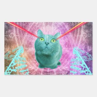 Pegatina Rectangular Gato con los ojos del laser