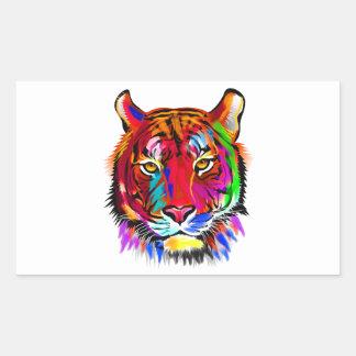 Pegatina Rectangular Gato de muchos colores