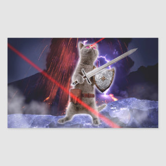Pegatina Rectangular gatos del guerrero - gato del caballero - laser