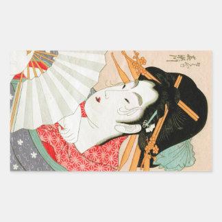 Pegatina Rectangular Geisha japonés fresco del woodprint con arte de la