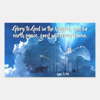 Pegatina Rectangular Gloria a dios, natividad del 2:14 de Lucas del