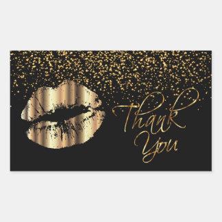 Pegatina Rectangular Gracias - los labios del metal del oro con confeti