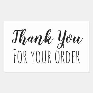 Pegatina Rectangular Gracias por su orden
