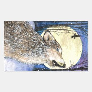 Pegatina Rectangular Grito - arte del lobo