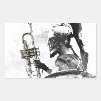 Pegatina Rectangular Guerrero de la trompeta
