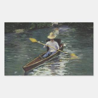 Pegatina Rectangular Gustave Caillebotte - canoa en el Yerres