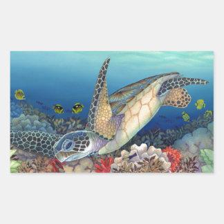 Pegatina Rectangular Honu (tortuga de mar verde)