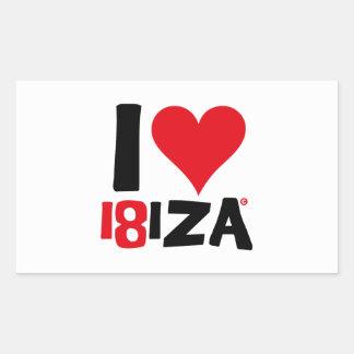 Pegatina Rectangular I love Ibiza 18IZA Edición Especial 2018