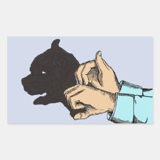 Pegatina Rectangular Imagen del perro creada con arte de la mano en los
