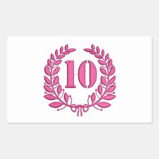 Pegatina Rectangular imitación de 10 enhorabuena del bordado