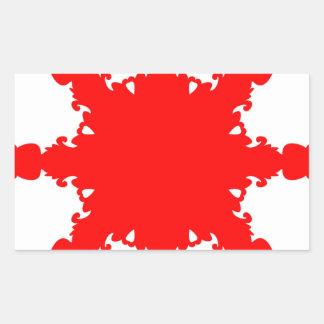 Pegatina Rectangular Impresión circular roja