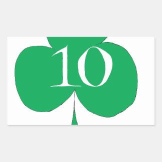 Pegatina Rectangular Irlandés afortunado 10 de los clubs, fernandes