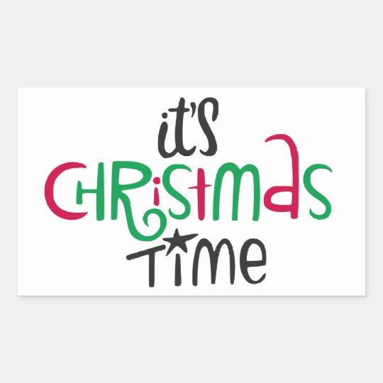 Pegatina Rectangular It's Christmas Time