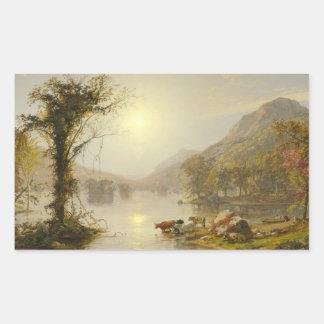 Pegatina Rectangular Jaspe Francisco Cropsey - otoño en el lago