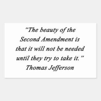 Pegatina Rectangular Jefferson - segunda enmienda