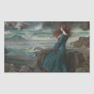Pegatina Rectangular John William Waterhouse - Miranda - la tempestad