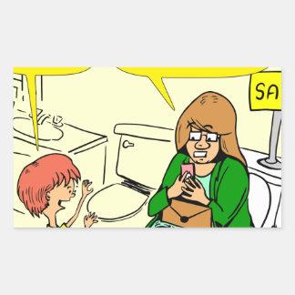 Pegatina Rectangular La abuela 903 está comprobando el dibujo animado