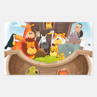 Pegatina Rectangular La arca de Noah con los animales de la selva