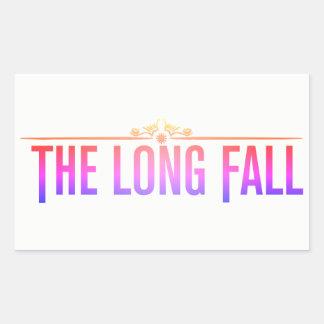 Pegatina Rectangular La caída larga (logotipo en rosa)