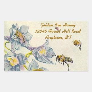 Pegatina Rectangular La correhuela de las abejas de la miel del