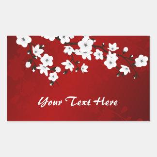 Pegatina Rectangular La flor de cerezo blanco y negro roja personaliza