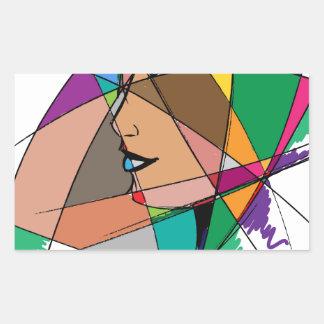 Pegatina Rectangular La mujer abstracta de Stanley Mathis