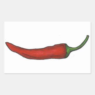 Pegatina Rectangular La pimienta de chile rojo caliente Chile picante