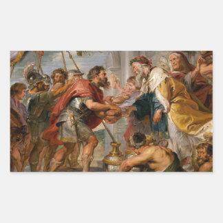 Pegatina Rectangular La reunión de Abraham y del arte de Melchizedek