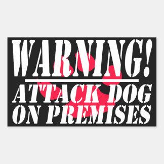 Pegatina Rectangular La señal de peligro el | se guarda de perro