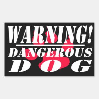 Pegatina Rectangular La señal de peligro el   se guarda de perro