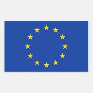 Pegatina Rectangular La UE señala por medio de una bandera