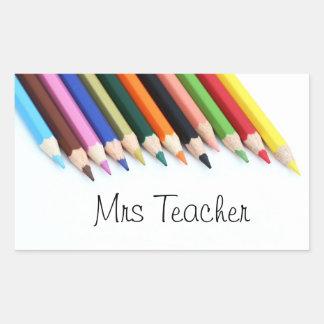 Pegatina Rectangular Lápices del color de señora Teacher