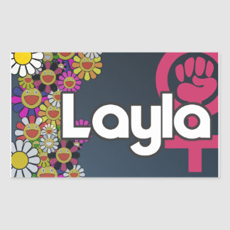 Pegatina Rectangular Layla - Sheet of 4...