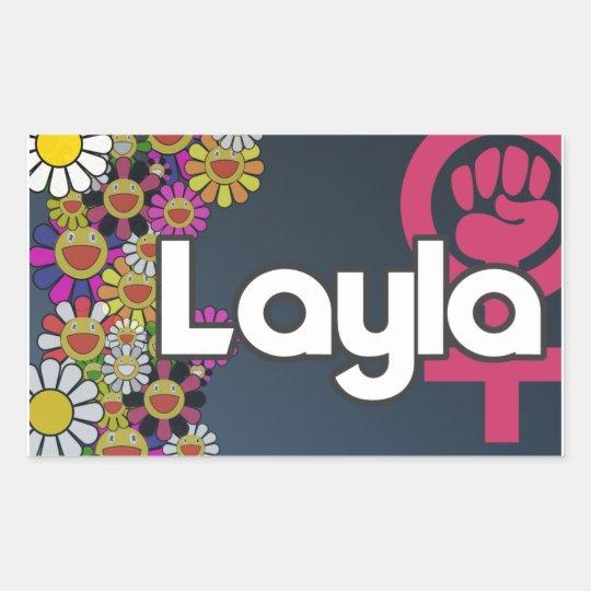 Pegatina Rectangular Layla - Sheet of 4...