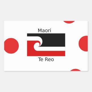 Pegatina Rectangular Lengua de Te Reo y diseño maorí de la bandera